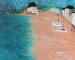 Peinture d'un paysage de bord de mer