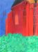 Peinture de tableau l'église rouge