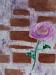 Tableau d'une fleur de camélia, peinture à l'huile sur toile au couteau